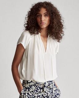 Biała jedwabna bluzka