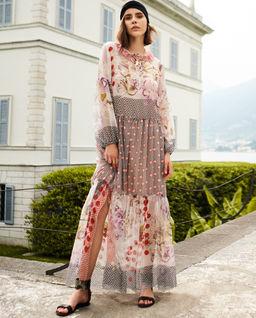 EDYCJA LIMITOWANA - Sukienka z jedwabiu we wzory Davos