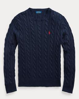 Granatowy sweter z bawełny