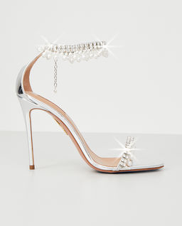 Srebrne sandały na szpilce Exquisite