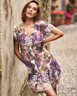 Jedwabna sukienka mini z falbanami Stannis