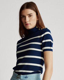 Sweter w paski z krótkim rękawem