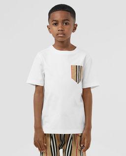 Biały t-shirt z kieszonką 3-14 lat