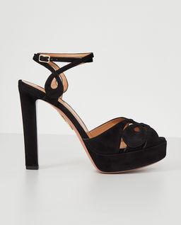 Czarne sandały na plarformie Gardena