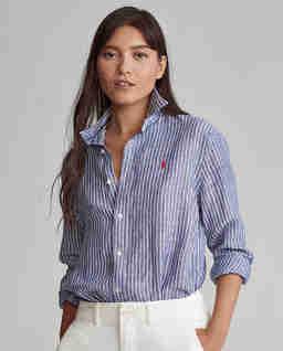 Koszula w paski z lnu Relaxed Fit