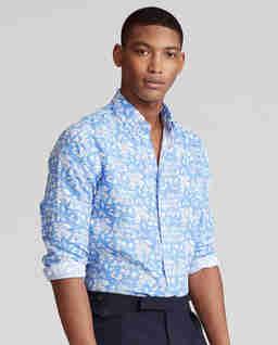 Lniana koszula w tropikalny wzór Slim Fit