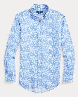Lniana koszula w tropikalny wzór