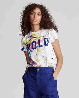 Bílé tričko s barevným potiskem