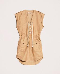 Lniana sukienka ze sznurowaniem