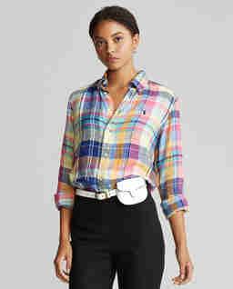 Lniana koszula w kratę Classic Fit
