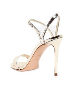 Złote metaliczne sandały na szpilce