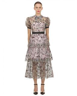 Koronkowa sukienka midi z cekinami