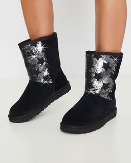 Czarne śniegowce Short Sequin Stars