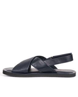 Granatowe sandały ze skóry