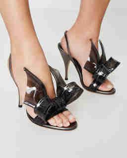 Szare sandały z kokardą