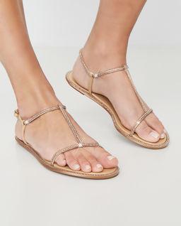 Beżowe sandały z kryształami Swarovskiego