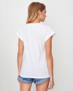 Biały t-shirt logowany z aplikacją