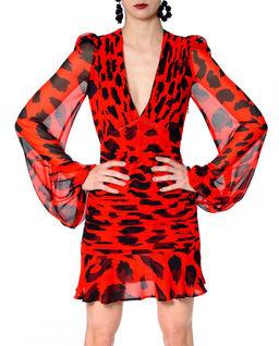 Czerwona sukienka mini z jedwabiu Chloe