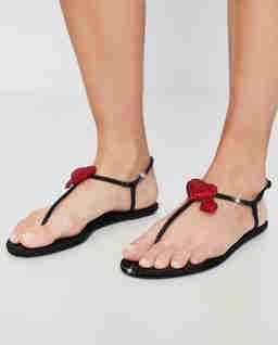 Czarne sandały Diana z kryształami Swarovskiego