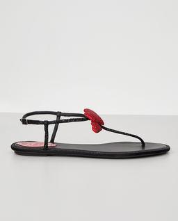 Czarne sandały z kryształami Swarovskiego