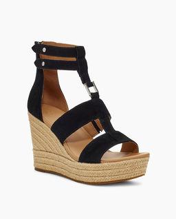 Czarne sandały na koturnie Kolfax