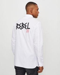 Biała klasyczna koszula z aplikacją