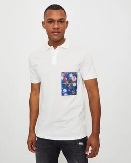 Biały t-shirt polo z aplikacją