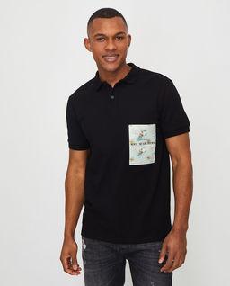 Czarna koszulka polo z logo
