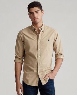 Beżowa koszula Slim Fit Oxford