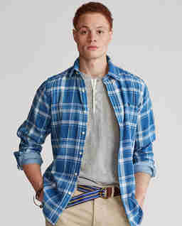 Niebieska koszula w kratę Custom Fit