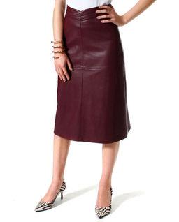 Spódnica midi ze skóry wegańskiej Chiara Malaga