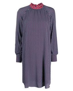 Tmavomodré šaty s prolamovaným vzorem