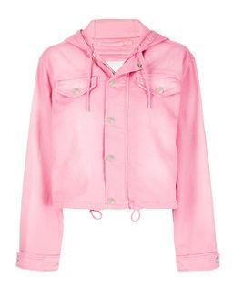 Růžová džínová bunda