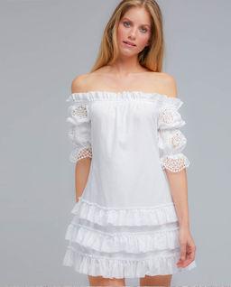 Biała sukienka z falbankami Mia