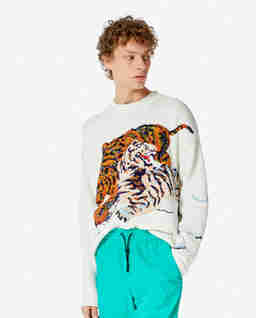 Beżowy sweter z tygrysem