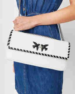 Bílá kožená kabelka Baguette Classic Twist