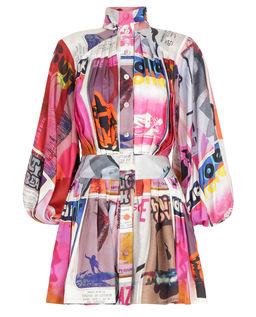 Jedwabna sukienka w plakatowy wzór