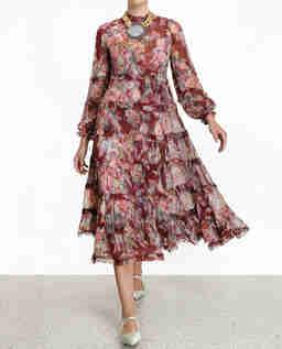 Bordowa jedwabna sukienka w kwiaty