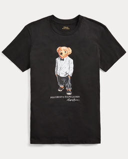 Czarna  koszulka z misiem