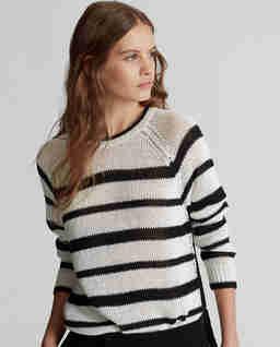 Lniany sweter w paski