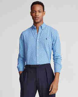 Niebieska koszula we wzór Mesh Slim Fit