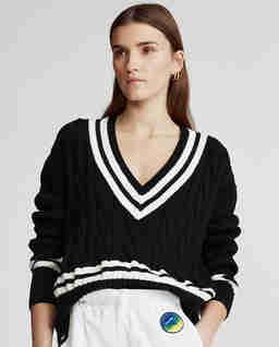 Bawełniany sweter w serek