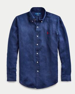 Granatowa koszula z lnu Custom Fit