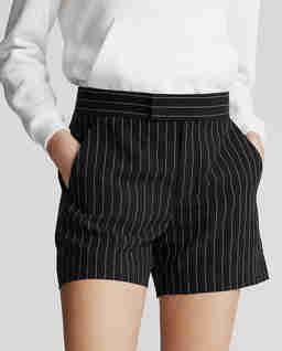 Lněné pruhované šortky