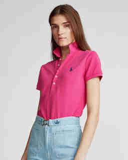 Růžové tričko polo Slim Fit