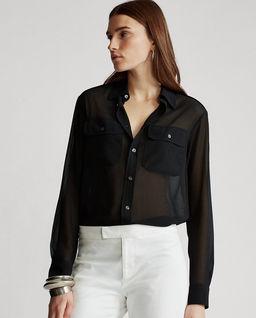 Czarna koszula z żorżety