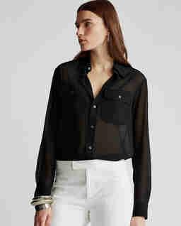 Černá košile z žoržety