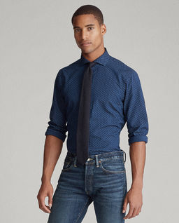 Granatowa koszula w kropki