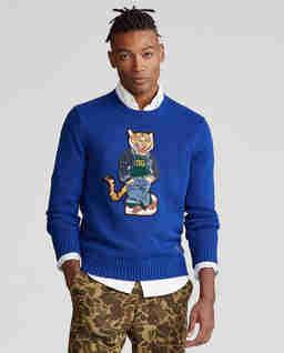 Niebieski sweter z tygrysem