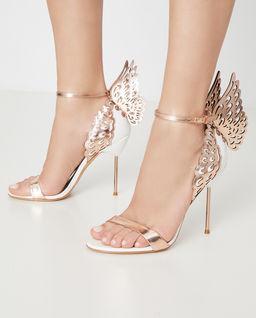 Białe sandały na szpilce Evangeline